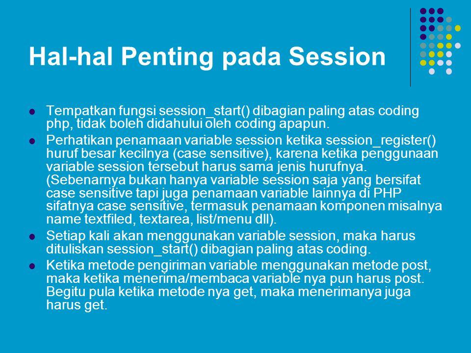 Hal-hal Penting pada Session  Tempatkan fungsi session_start() dibagian paling atas coding php, tidak boleh didahului oleh coding apapun.  Perhatika