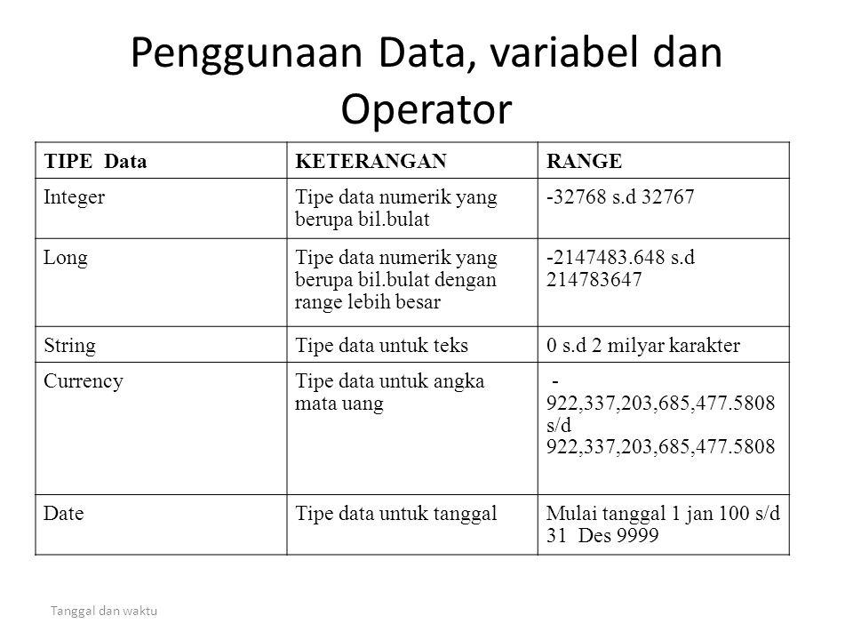 Tanggal dan waktu Penggunaan Data, variabel dan Operator TIPE DataKETERANGANRANGE IntegerTipe data numerik yang berupa bil.bulat -32768 s.d 32767 Long