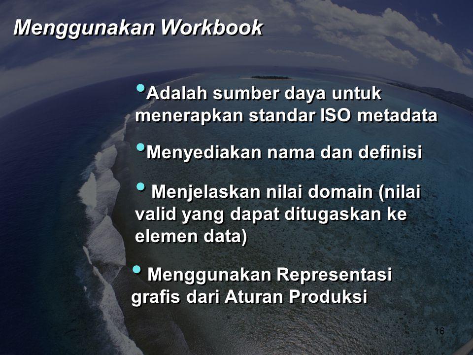 • Adalah sumber daya untuk menerapkan standar ISO metadata • Menggunakan Representasi grafis dari Aturan Produksi • Menjelaskan nilai domain (nilai va