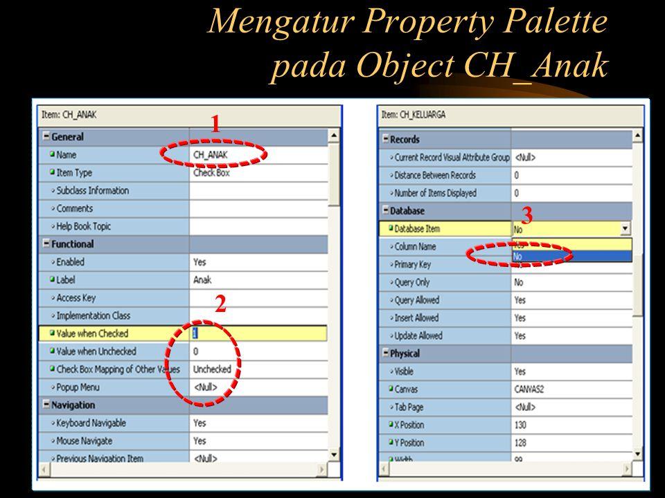 Mengatur Property Palette pada Object CH_Anak 1 2 3