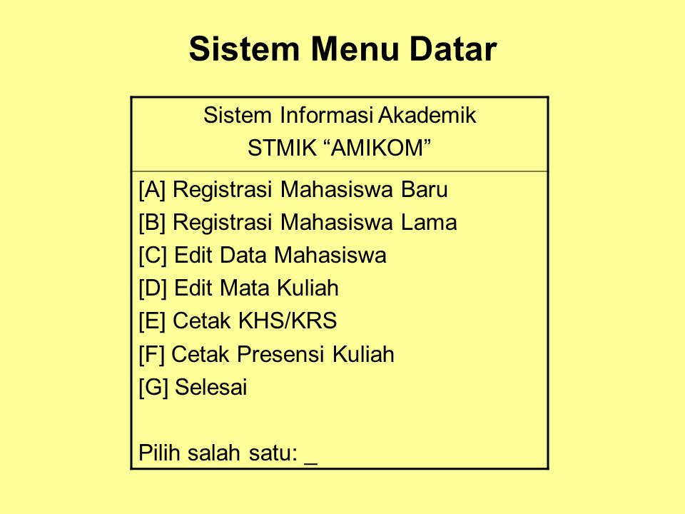 """Sistem Menu Datar Sistem Informasi Akademik STMIK """"AMIKOM"""" [A] Registrasi Mahasiswa Baru [B] Registrasi Mahasiswa Lama [C] Edit Data Mahasiswa [D] Edi"""