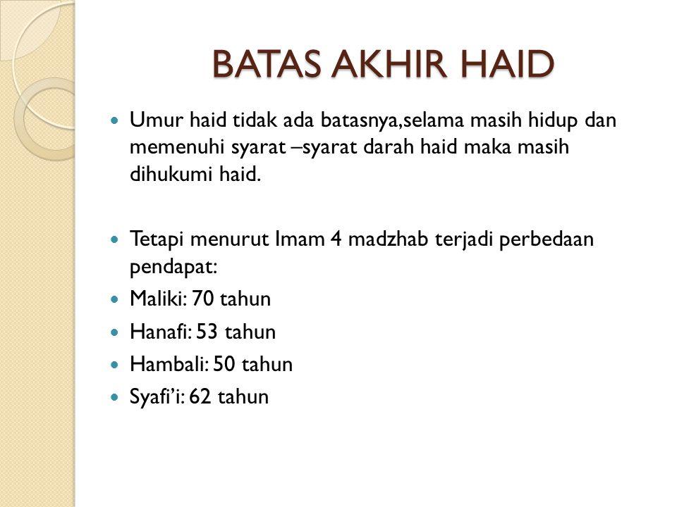 PERKARA YANG HARAM KETIKA HAID  Shalat (tidak wajib qadla)  Thawaf  Puasa (wajib qadla)  I'tikaf  Masuk masjid,khawatir kotor  Baca dan menyentuh Al-Qur'an  Bersuci  Dijatuhi talaq  Berhubungan badan  Istimta' (bersenang-senang antara pusar dan lutut وَيَسْأَلُونَكَ عَنِ الْمَحِيضِ قُلْ هُوَ أَذًى فَاعْتَزِلُواْ النِّسَآءَ فِي الْمَحِيضِ وَلاَ تَقْرَبُوهُنَّ حَتَّى يَطْهُرْنَ فَإِذَا تَطَهَّرْنَ فَأْتُوهُنَّ مِنْ حَيْثُ أَمَرَكُمُ اللَّهُ إِنَّ اللَّهَ يُحِبُّ التَّوَّابِينَ وَيُحِبُّ الْمُتَطَهِّرِينَ – البقرة ﴿٢٢٢﴾ Kafarat bagi laki-laki yang menggauli istri sedang haid yaitus sedekah satu dinar