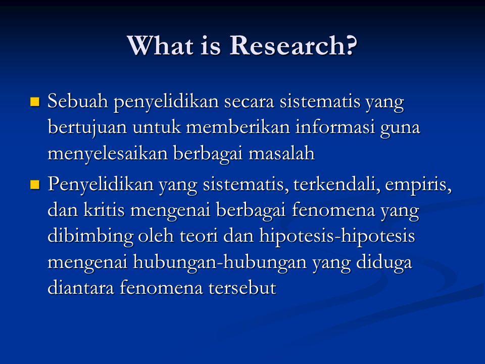 What is Research?  Sebuah penyelidikan secara sistematis yang bertujuan untuk memberikan informasi guna menyelesaikan berbagai masalah  Penyelidikan