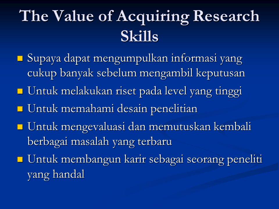 The Value of Acquiring Research Skills  Supaya dapat mengumpulkan informasi yang cukup banyak sebelum mengambil keputusan  Untuk melakukan riset pad