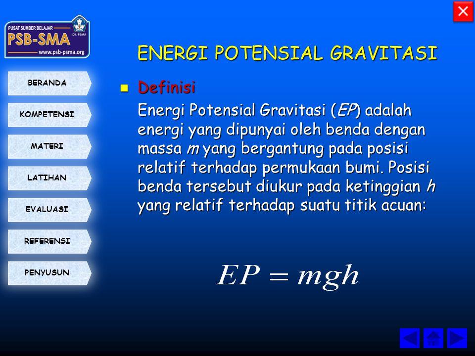 KOMPETENSI BERANDA MATERI LATIHAN EVALUASI PENYUSUN REFERENSI ENERGI POTENSIAL GRAVITASI  Definisi Energi Potensial Gravitasi (EP) adalah energi yang