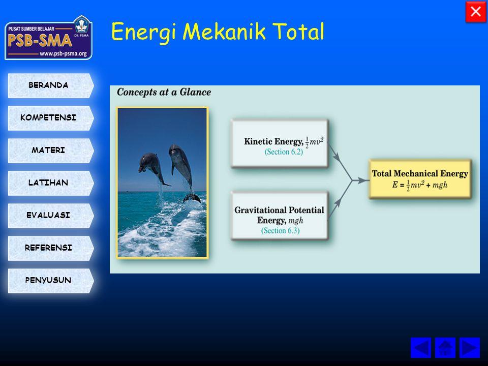 KOMPETENSI BERANDA MATERI LATIHAN EVALUASI PENYUSUN REFERENSI Energi Mekanik Total