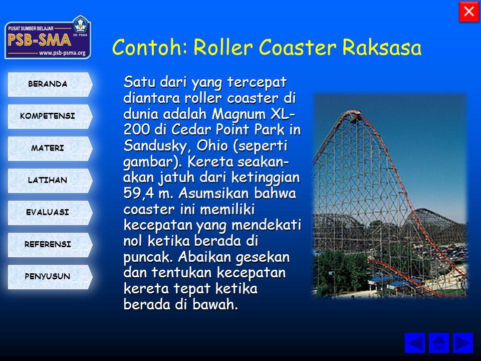 KOMPETENSI BERANDA MATERI LATIHAN EVALUASI PENYUSUN REFERENSI Contoh: Roller Coaster Raksasa Satu dari yang tercepat diantara roller coaster di dunia
