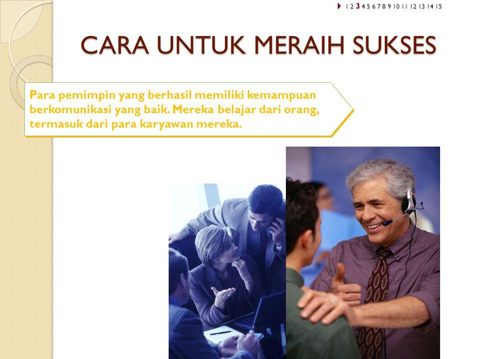 CARA UNTUK MERAIH SUKSES Para pemimpin yang berhasil memiliki kemampuan berkomunikasi yang baik. Mereka belajar dari orang, termasuk dari para karyawa