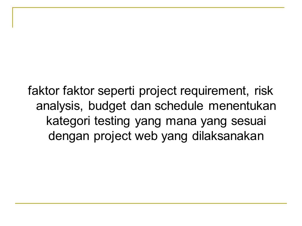 faktor faktor seperti project requirement, risk analysis, budget dan schedule menentukan kategori testing yang mana yang sesuai dengan project web yan