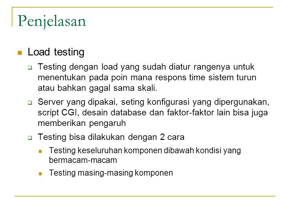 Penjelasan  Load testing  Testing dengan load yang sudah diatur rangenya untuk menentukan pada poin mana respons time sistem turun atau bahkan gagal