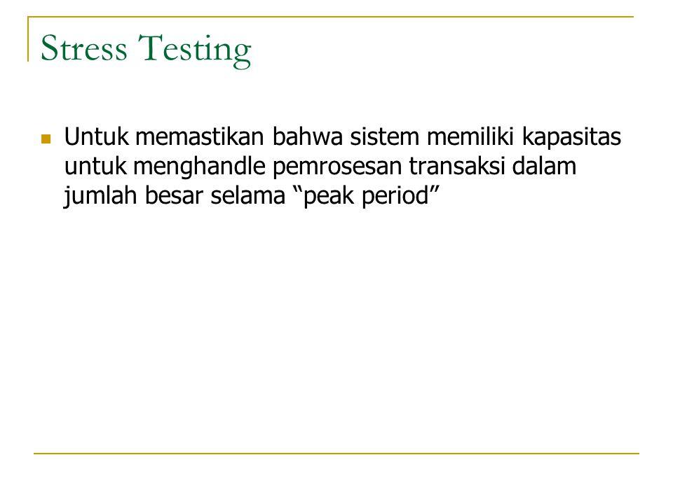 """Stress Testing  Untuk memastikan bahwa sistem memiliki kapasitas untuk menghandle pemrosesan transaksi dalam jumlah besar selama """"peak period"""""""