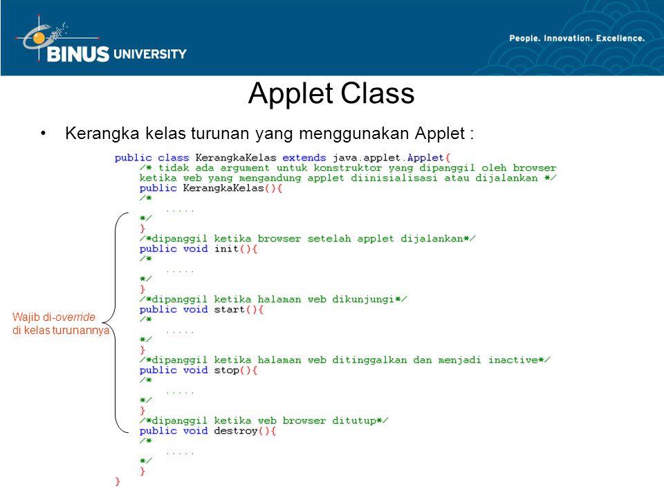Applet Class •Kerangka kelas turunan yang menggunakan Applet : Wajib di-override di kelas turunannya