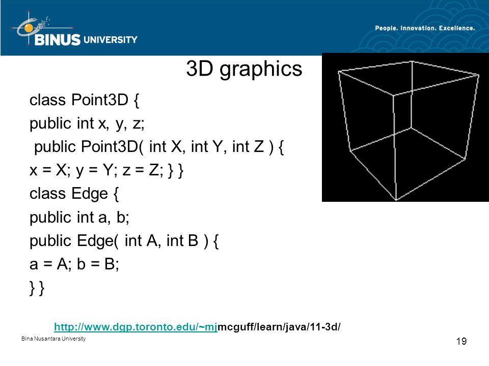 3D graphics class Point3D { public int x, y, z; public Point3D( int X, int Y, int Z ) { x = X; y = Y; z = Z; } } class Edge { public int a, b; public