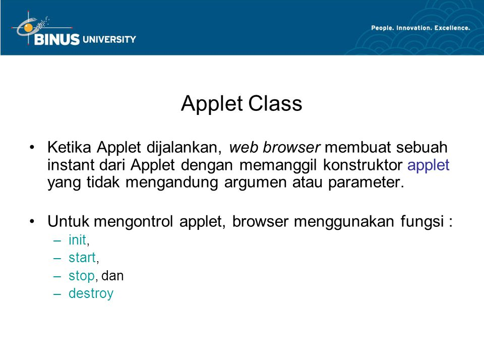 3D graphics class Point3D { public int x, y, z; public Point3D( int X, int Y, int Z ) { x = X; y = Y; z = Z; } } class Edge { public int a, b; public Edge( int A, int B ) { a = A; b = B; } Bina Nusantara University 19 http://www.dgp.toronto.edu/~mjhttp://www.dgp.toronto.edu/~mjmcguff/learn/java/11-3d/