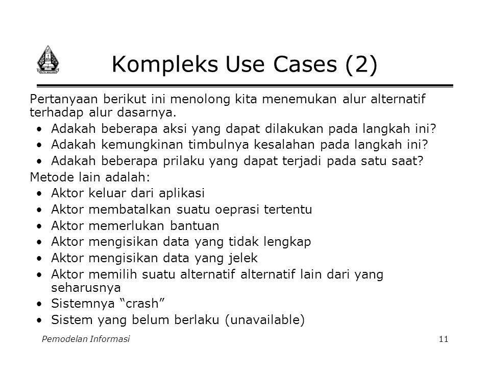 Pemodelan Informasi11 Kompleks Use Cases (2) Pertanyaan berikut ini menolong kita menemukan alur alternatif terhadap alur dasarnya. •Adakah beberapa a