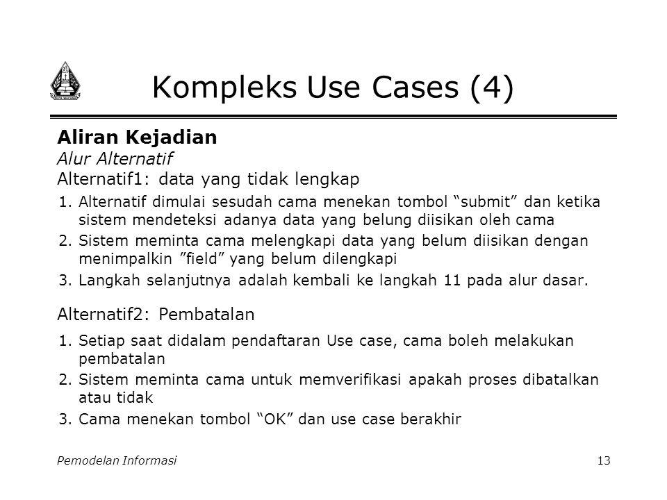 """Pemodelan Informasi13 Kompleks Use Cases (4) 1.Alternatif dimulai sesudah cama menekan tombol """"submit"""" dan ketika sistem mendeteksi adanya data yang b"""