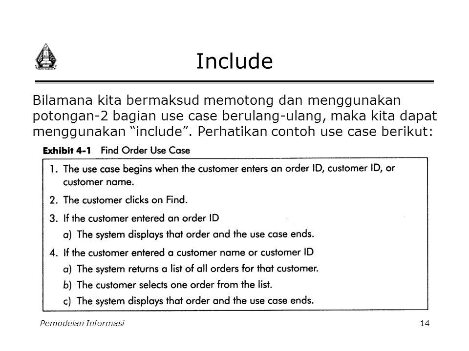Pemodelan Informasi14 Include Bilamana kita bermaksud memotong dan menggunakan potongan-2 bagian use case berulang-ulang, maka kita dapat menggunakan