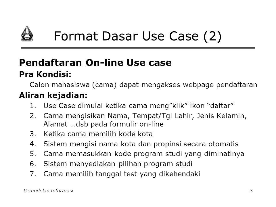Pemodelan Informasi4 Format Dasar Use Case (3) Aliran kejadian..: 8.Cama memilih model pembayaran uang pendaftaran 9.Cama menekan tombol submit 10.Sistem melakukan verifikasi dari informasi yang diterima.