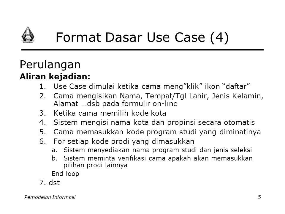 """Pemodelan Informasi5 Format Dasar Use Case (4) Perulangan Aliran kejadian: 1.Use Case dimulai ketika cama meng""""klik"""" ikon """"daftar"""" 2.Cama mengisikan N"""