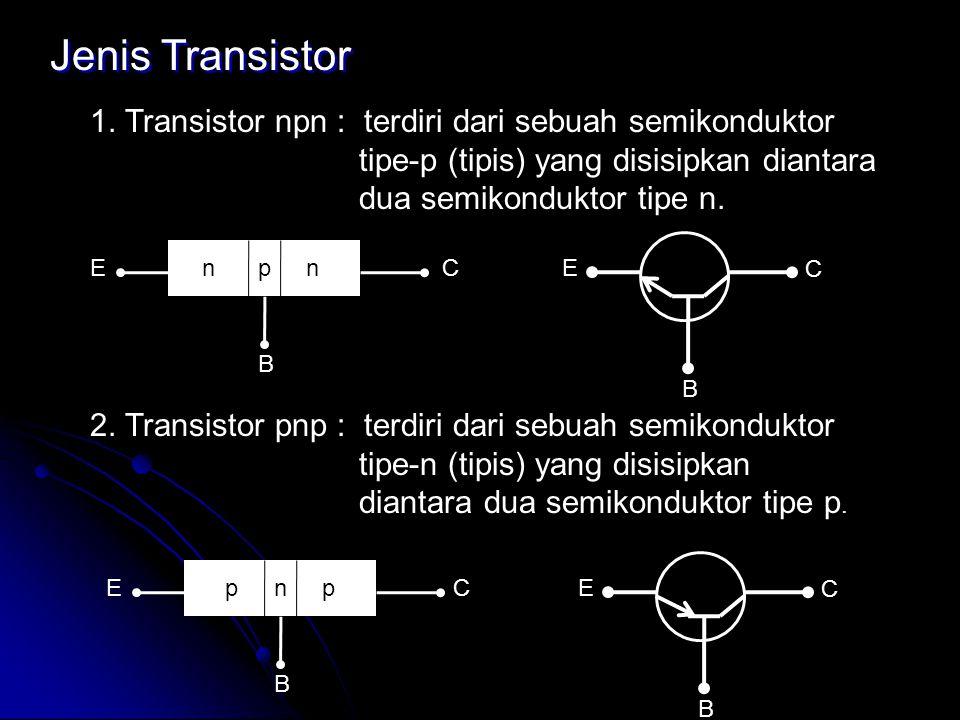 Jenis Transistor 1. Transistor npn : terdiri dari sebuah semikonduktor tipe-p (tipis) yang disisipkan diantara dua semikonduktor tipe n. 2. Transistor