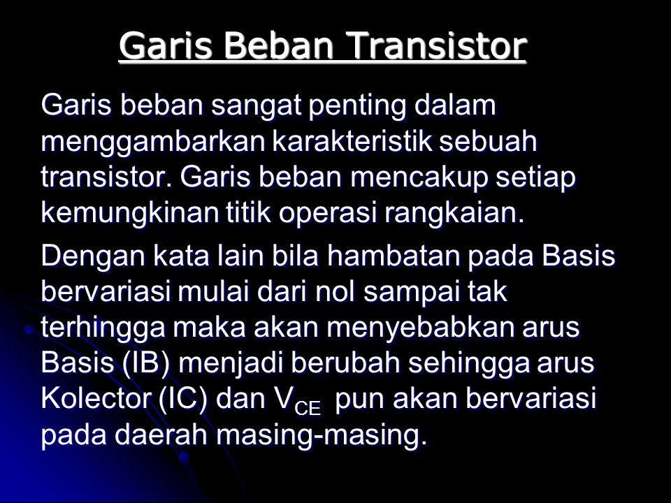 Garis Beban Transistor Garis beban sangat penting dalam menggambarkan karakteristik sebuah transistor. Garis beban mencakup setiap kemungkinan titik o