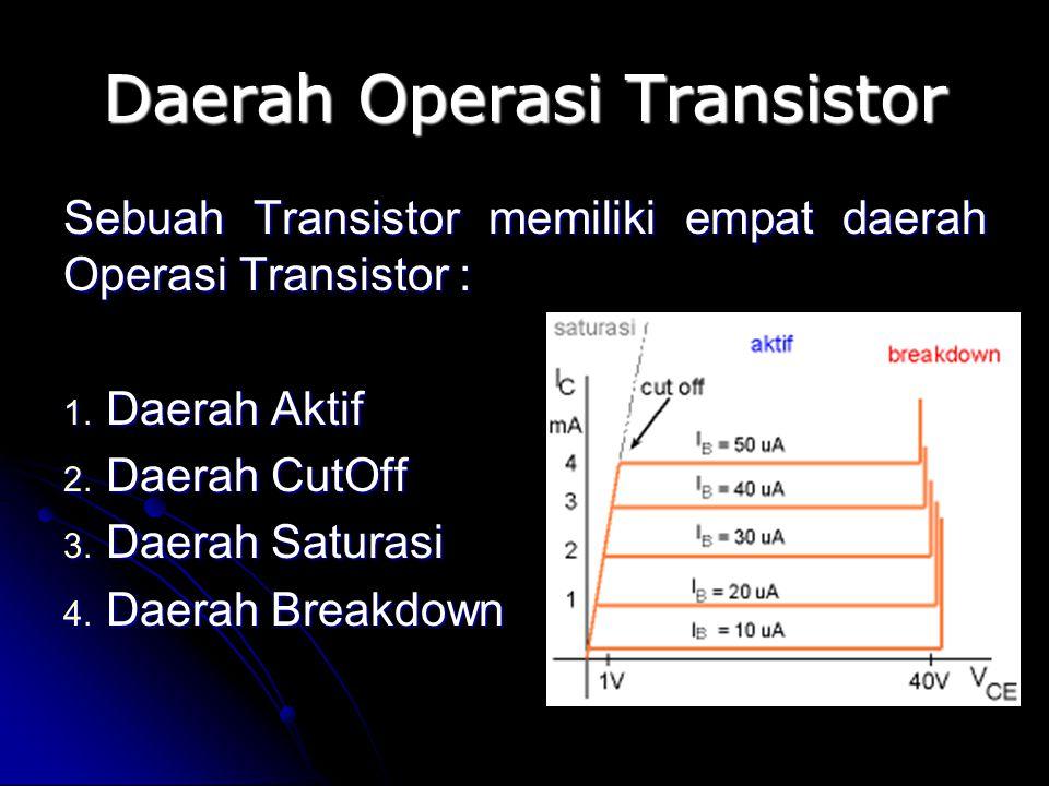 Daerah Operasi Transistor Sebuah Transistor memiliki empat daerah Operasi Transistor : 1. Daerah Aktif 2. Daerah CutOff 3. Daerah Saturasi 4. Daerah B