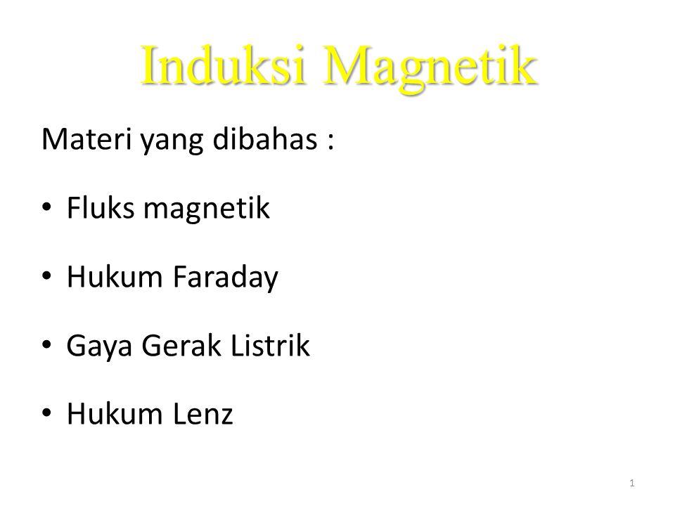 Induksi Magnetik Materi yang dibahas : • Fluks magnetik • Hukum Faraday • Gaya Gerak Listrik • Hukum Lenz 1