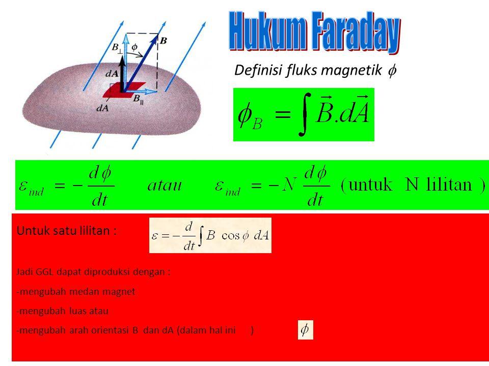 Definisi fluks magnetik  Untuk satu lilitan : Jadi GGL dapat diproduksi dengan : -mengubah medan magnet -mengubah luas atau -mengubah arah orientasi