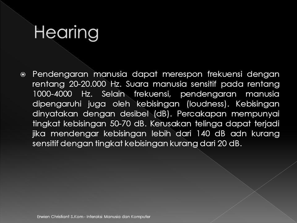  Pendengaran manusia dapat merespon frekuensi dengan rentang 20-20.000 Hz. Suara manusia sensitif pada rentang 1000-4000 Hz. Selain frekuensi, penden