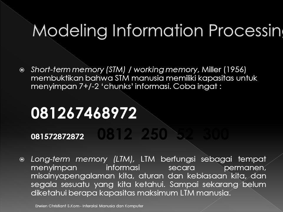 Erwien Christiant S.Kom - Interaksi Manusia dan Komputer  Short-term memory (STM) / working memory, Miller (1956) membuktikan bahwa STM manusia memil