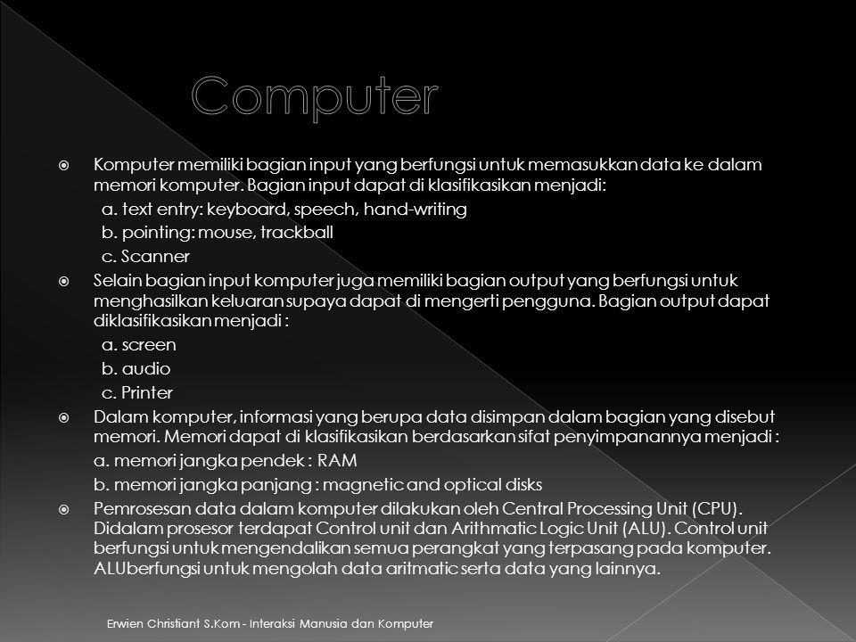 Erwien Christiant S.Kom - Interaksi Manusia dan Komputer  Komputer memiliki bagian input yang berfungsi untuk memasukkan data ke dalam memori kompute