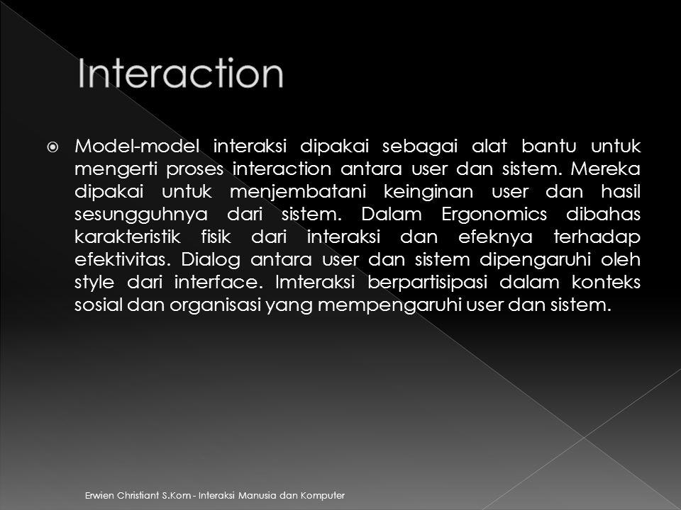 Erwien Christiant S.Kom - Interaksi Manusia dan Komputer  Model-model interaksi dipakai sebagai alat bantu untuk mengerti proses interaction antara u