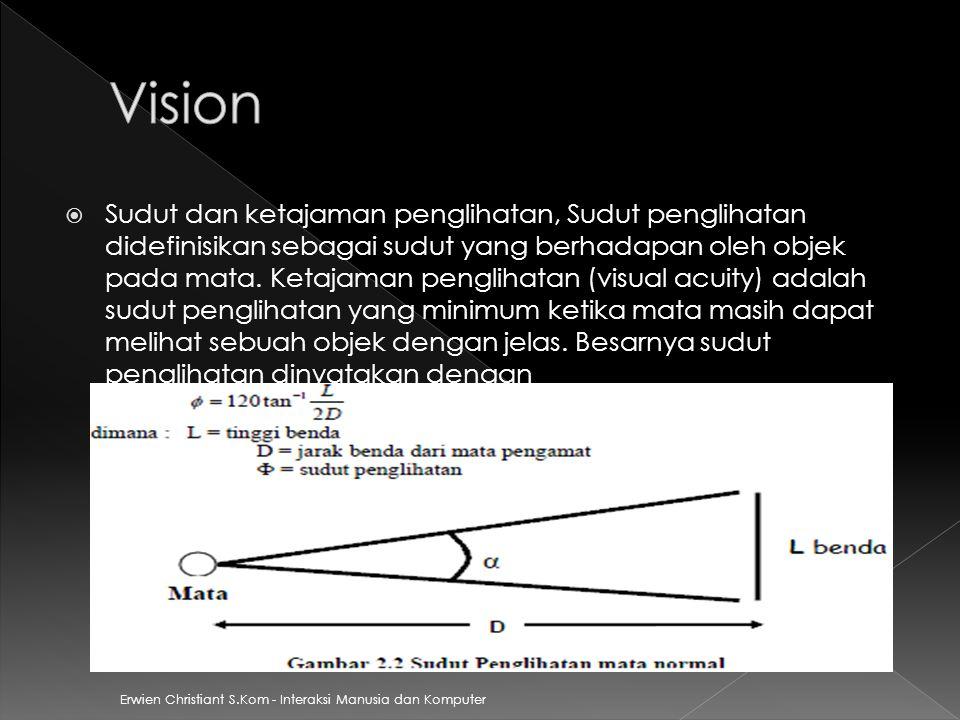 Erwien Christiant S.Kom - Interaksi Manusia dan Komputer  Medan pengihatan adalah sudut terkecil yang dibentuk ketika mata bergerak kekiri terjauh dan kekanan terjauh.