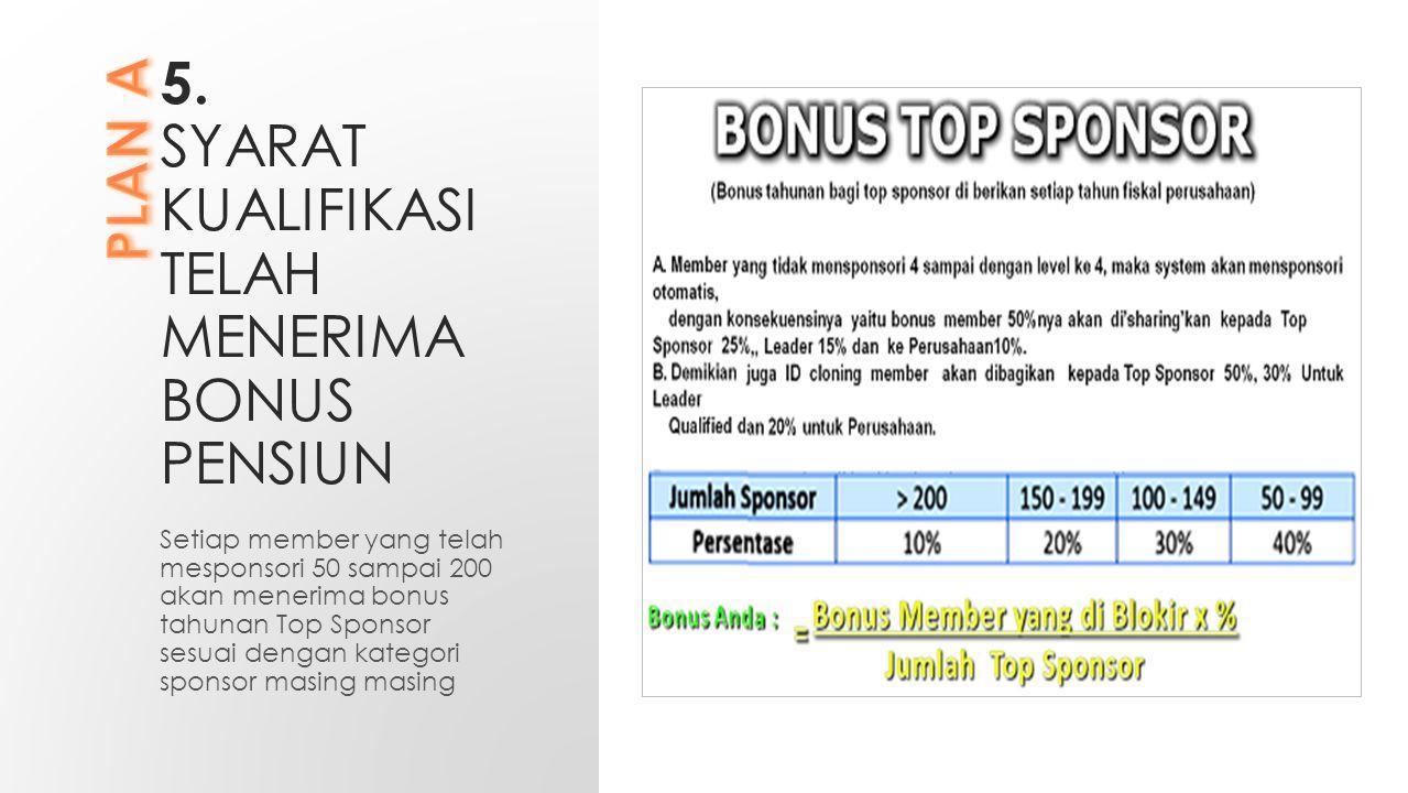 5. SYARAT KUALIFIKASI TELAH MENERIMA BONUS PENSIUN Setiap member yang telah mesponsori 50 sampai 200 akan menerima bonus tahunan Top Sponsor sesuai de