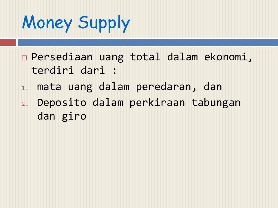 Money Supply  Persediaan uang total dalam ekonomi, terdiri dari : 1. mata uang dalam peredaran, dan 2. Deposito dalam perkiraan tabungan dan giro