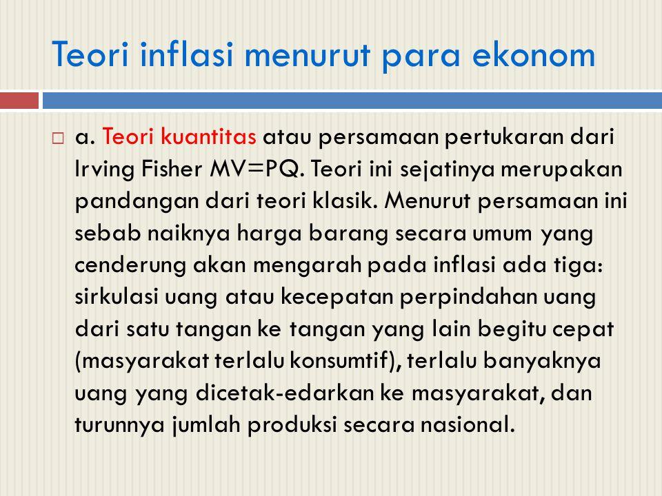 Teori inflasi menurut para ekonom  a. Teori kuantitas atau persamaan pertukaran dari Irving Fisher MV=PQ. Teori ini sejatinya merupakan pandangan dar