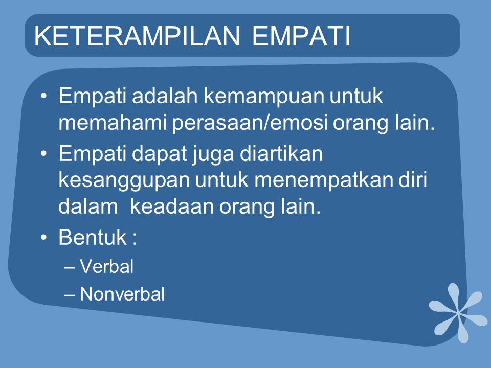 KETERAMPILAN EMPATI •Empati adalah kemampuan untuk memahami perasaan/emosi orang lain. •Empati dapat juga diartikan kesanggupan untuk menempatkan diri