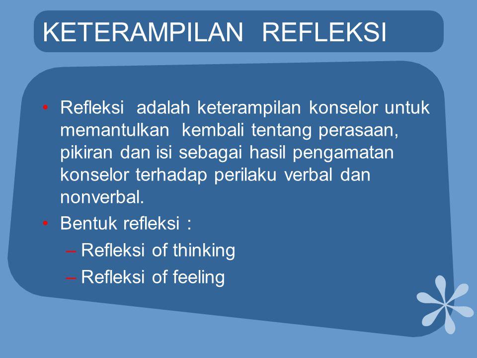 KETERAMPILAN REFLEKSI •Refleksi adalah keterampilan konselor untuk memantulkan kembali tentang perasaan, pikiran dan isi sebagai hasil pengamatan kons