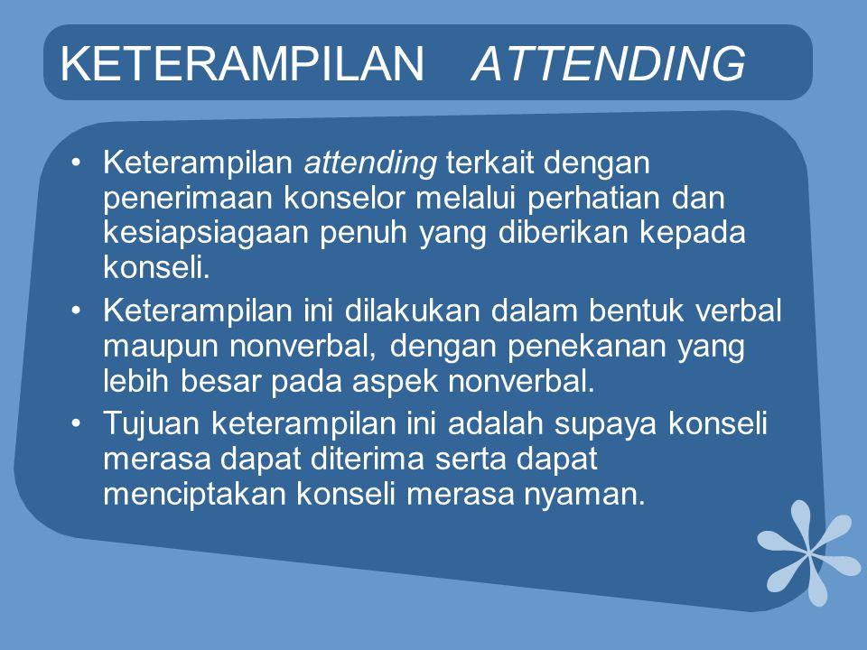 KETERAMPILAN ATTENDING •Keterampilan attending terkait dengan penerimaan konselor melalui perhatian dan kesiapsiagaan penuh yang diberikan kepada kons