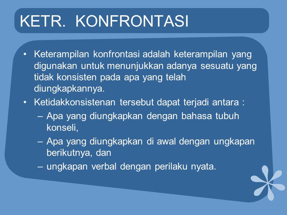 KETR. KONFRONTASI •Keterampilan konfrontasi adalah keterampilan yang digunakan untuk menunjukkan adanya sesuatu yang tidak konsisten pada apa yang tel