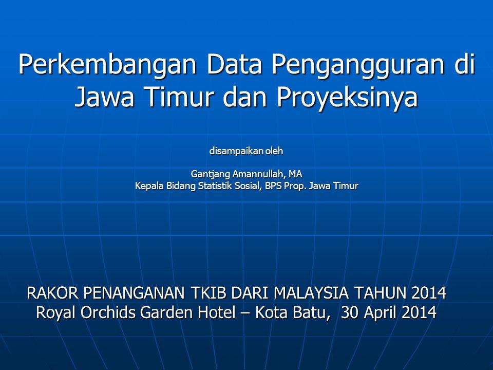 Perkembangan Data Pengangguran di Jawa Timur dan Proyeksinya disampaikan oleh Gantjang Amannullah, MA Kepala Bidang Statistik Sosial, BPS Prop. Jawa T