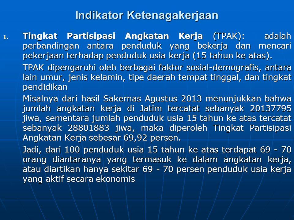 Indikator Ketenagakerjaan 1. Tingkat Partisipasi Angkatan Kerja (TPAK): adalah perbandingan antara penduduk yang bekerja dan mencari pekerjaan terhada