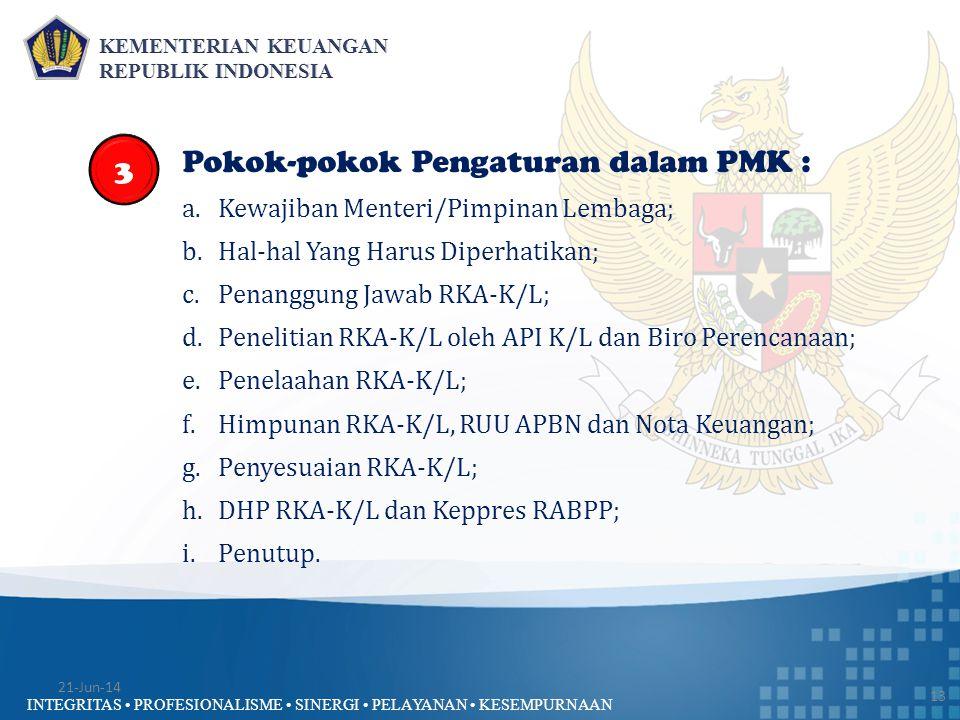 INTEGRITAS • PROFESIONALISME • SINERGI • PELAYANAN • KESEMPURNAAN 13 Pokok-pokok Pengaturan dalam PMK : a.Kewajiban Menteri/Pimpinan Lembaga; b.Hal-ha