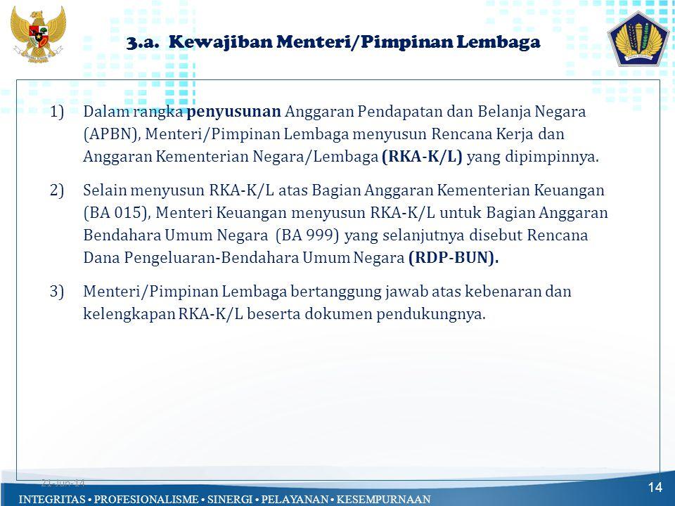 INTEGRITAS • PROFESIONALISME • SINERGI • PELAYANAN • KESEMPURNAAN 3.a. Kewajiban Menteri/Pimpinan Lembaga 14 1)Dalam rangka penyusunan Anggaran Pendap