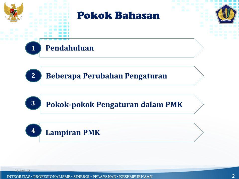 INTEGRITAS • PROFESIONALISME • SINERGI • PELAYANAN • KESEMPURNAAN 13 Pokok-pokok Pengaturan dalam PMK : a.Kewajiban Menteri/Pimpinan Lembaga; b.Hal-hal Yang Harus Diperhatikan; c.Penanggung Jawab RKA-K/L; d.Penelitian RKA-K/L oleh API K/L dan Biro Perencanaan; e.Penelaahan RKA-K/L; f.Himpunan RKA-K/L, RUU APBN dan Nota Keuangan; g.Penyesuaian RKA-K/L; h.DHP RKA-K/L dan Keppres RABPP; i.Penutup.