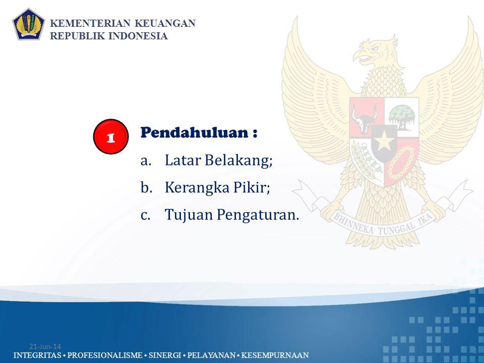 INTEGRITAS • PROFESIONALISME • SINERGI • PELAYANAN • KESEMPURNAAN Penelaahan RKA-K/L (Pagu Anggaran K/L) 24 1.Kesesuaian data dalam RKA-K/L dengan Pagu Anggaran K/L; 2.Kesesuaian antara Kegiatan- Keluaran-Anggarannya; 3.Kelengkapan dokumen penelaahan meliputi :  Surat pengantar yang ditanda- tangani oleh Menteri/Pimpinan Lembaga atau pejabat yg ditunjuk;  Surat Pernyataan Pejabat Eselon I penanggung jawab RKA-K/L;  Daftar Rincian Pagu Anggaran per Satker/eselon I;  RKA Satker;  ADK RKA-K/L.; dan 4.Konsistensi pencantuman sasaran Kinerja K/L dengan RKP termasuk prakiraan maju untuk tiga tahun ke depan.