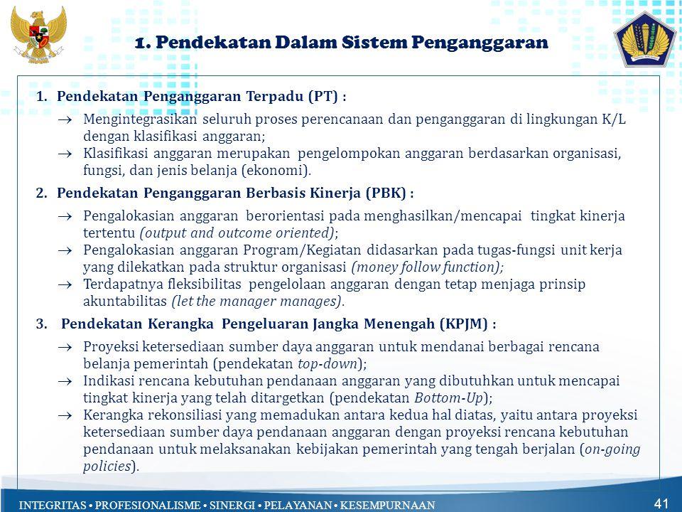 INTEGRITAS • PROFESIONALISME • SINERGI • PELAYANAN • KESEMPURNAAN 1. Pendekatan Dalam Sistem Penganggaran 41 1.Pendekatan Penganggaran Terpadu (PT) :