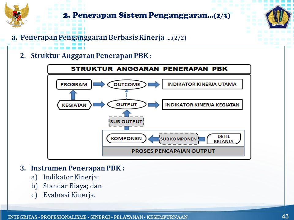 INTEGRITAS • PROFESIONALISME • SINERGI • PELAYANAN • KESEMPURNAAN 43 2.Struktur Anggaran Penerapan PBK : 3.Instrumen Penerapan PBK : a)Indikator Kiner