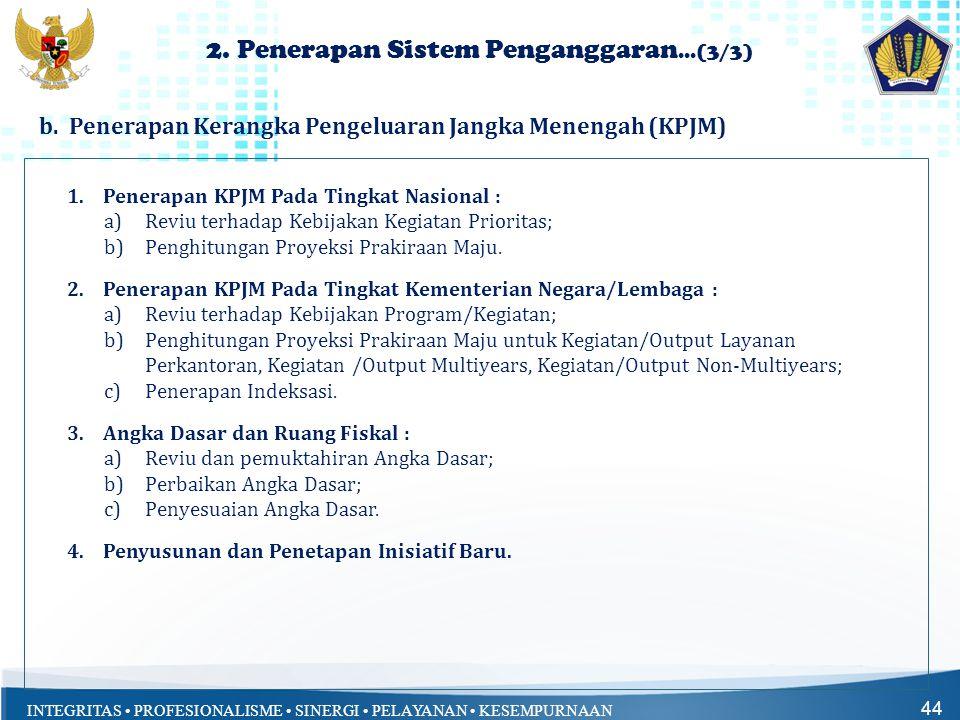 INTEGRITAS • PROFESIONALISME • SINERGI • PELAYANAN • KESEMPURNAAN 44 1.Penerapan KPJM Pada Tingkat Nasional : a)Reviu terhadap Kebijakan Kegiatan Prio