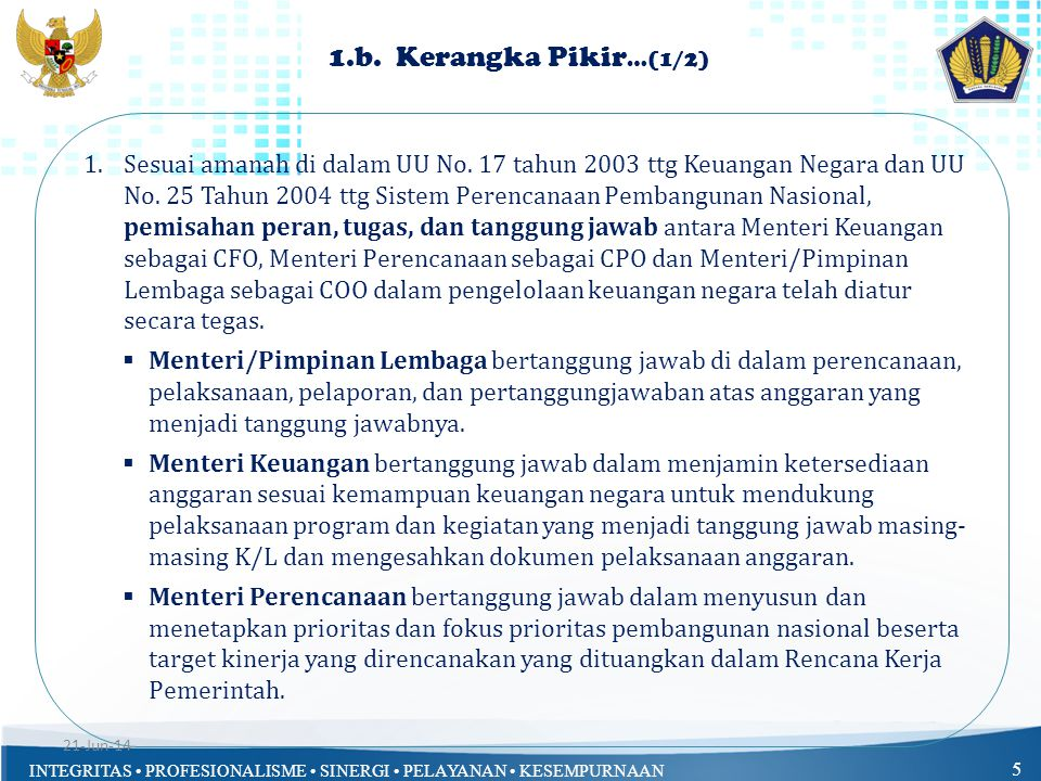 INTEGRITAS • PROFESIONALISME • SINERGI • PELAYANAN • KESEMPURNAAN 6 1.b.